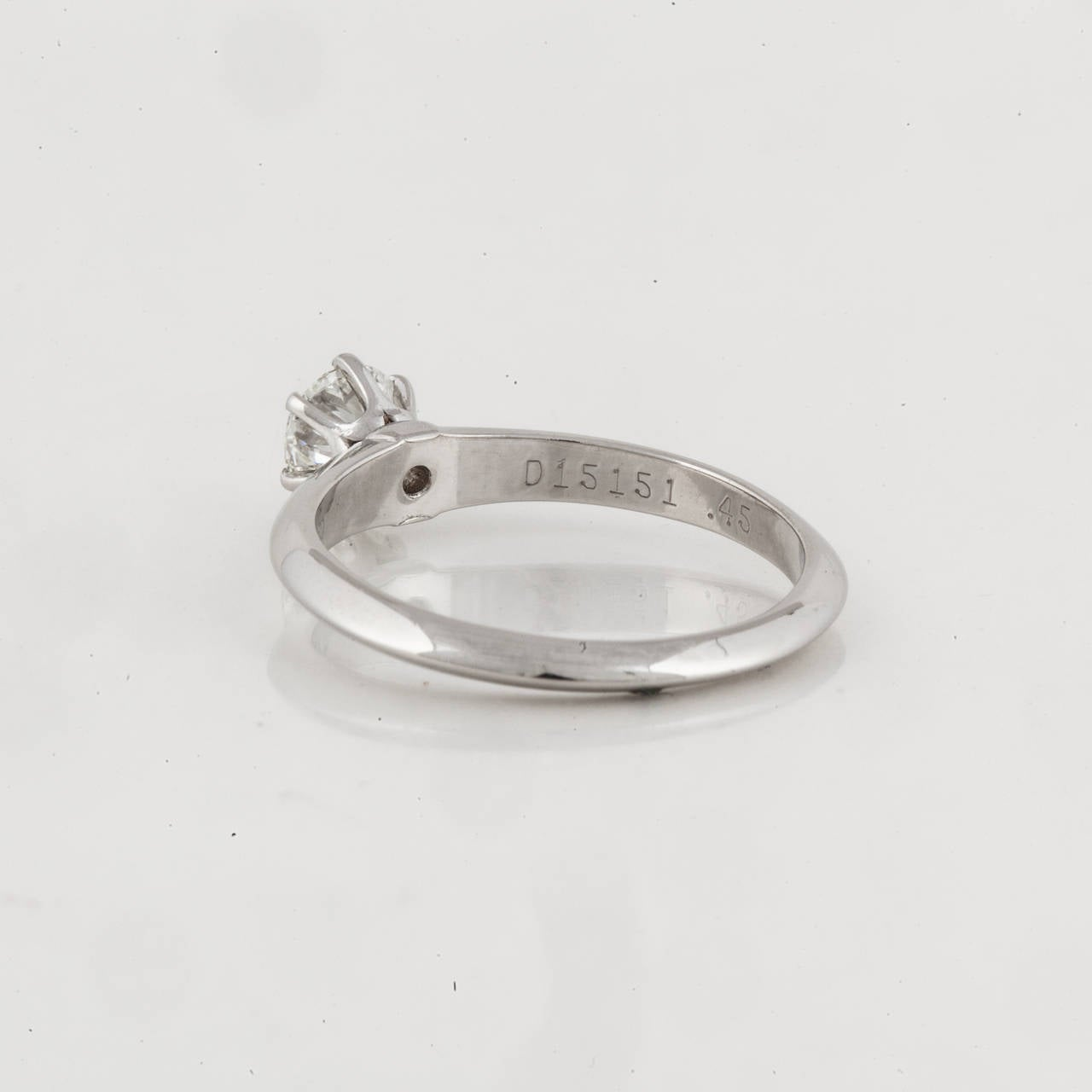 Tiffany & Co. Diamond Platinum Solitare Ring 4