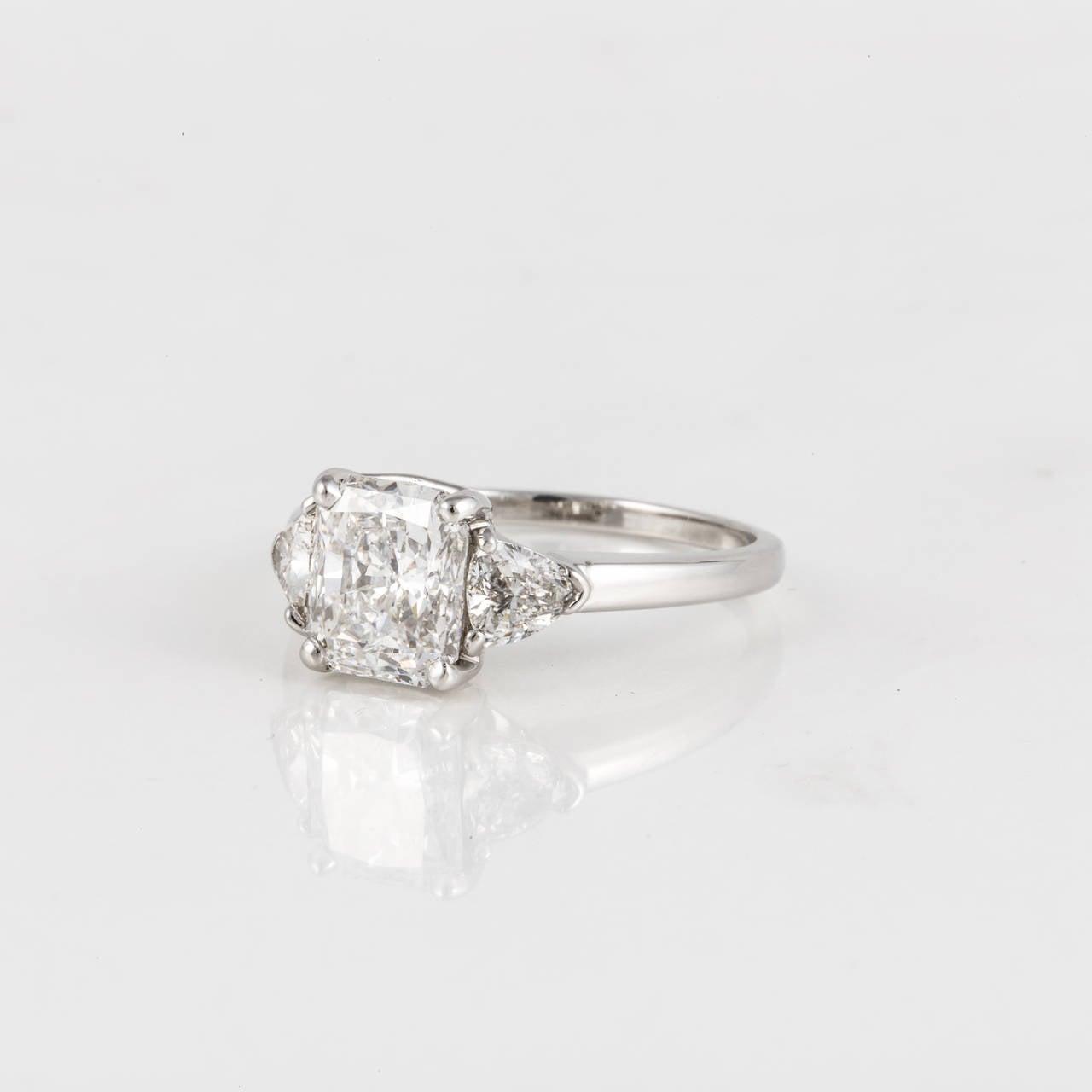 Cartier Radiant Cut Diamond Platinum Three Stone Ring 2