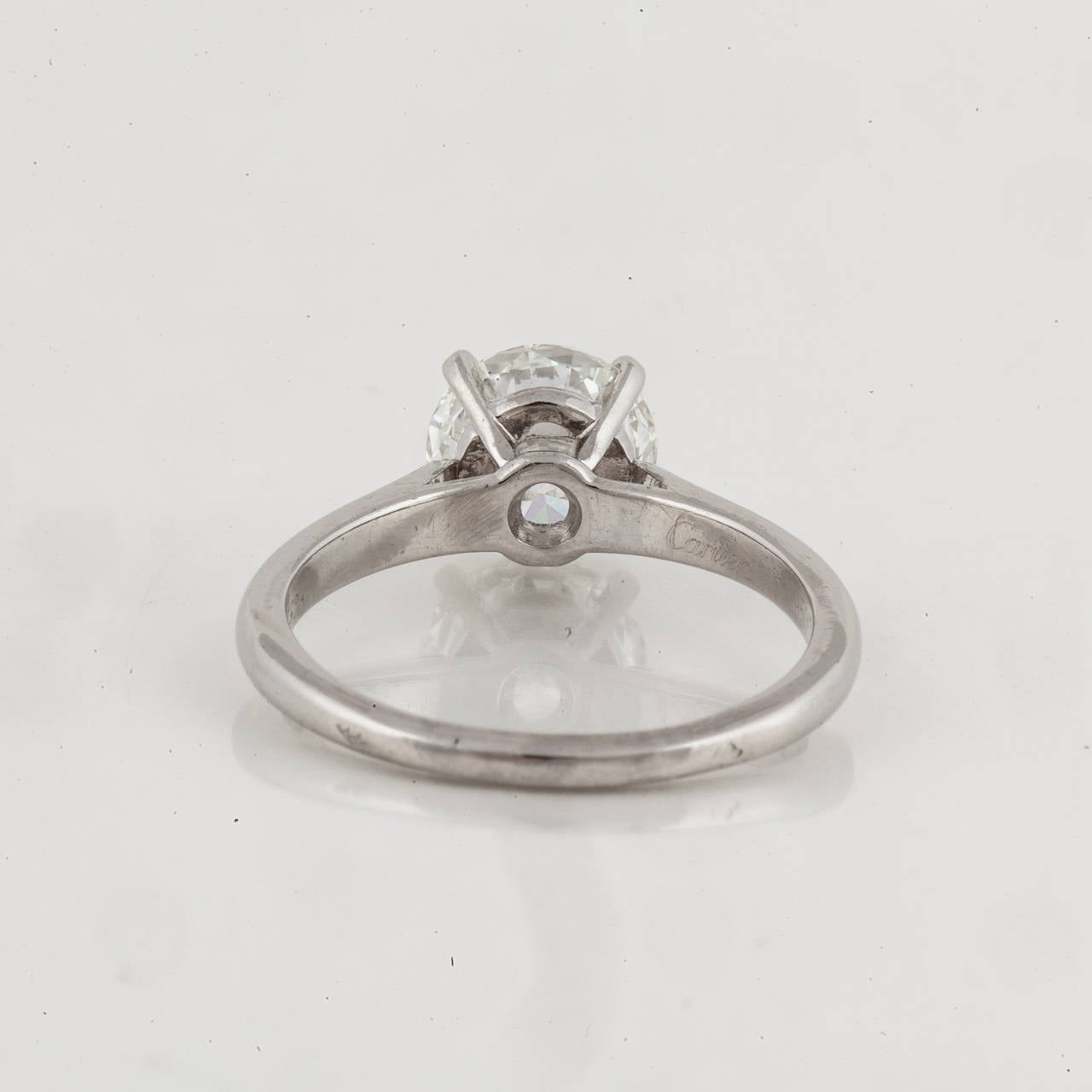 Women's Cartier GIA Certified Diamond Platinum Solitaire Ring For Sale