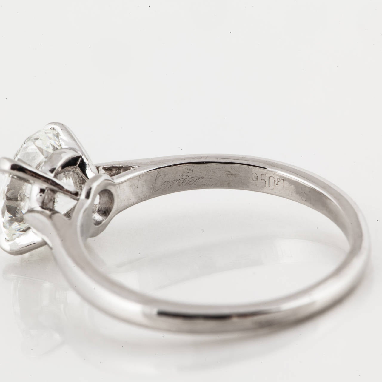 Cartier GIA Certified Diamond Platinum Solitaire Ring For Sale 1