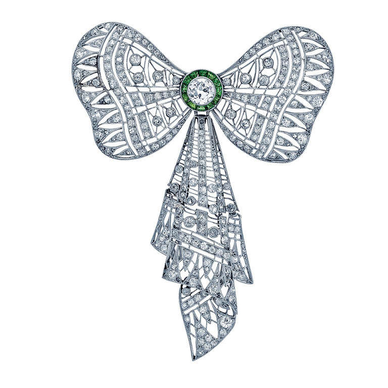 Edwardian Diamond, Emerald, and Platinum Pin