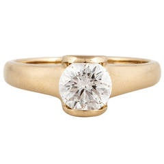 Movado Diamond Gold Solitaire Ring