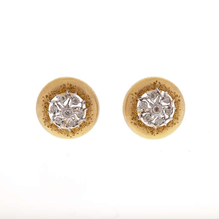 Buccellati Diamond and Two Tone Gold Earrings In Excellent Condition For Sale In Houston, TX