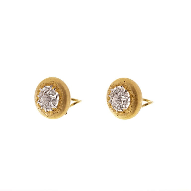 Women's Buccellati Diamond and Two Tone Gold Earrings For Sale