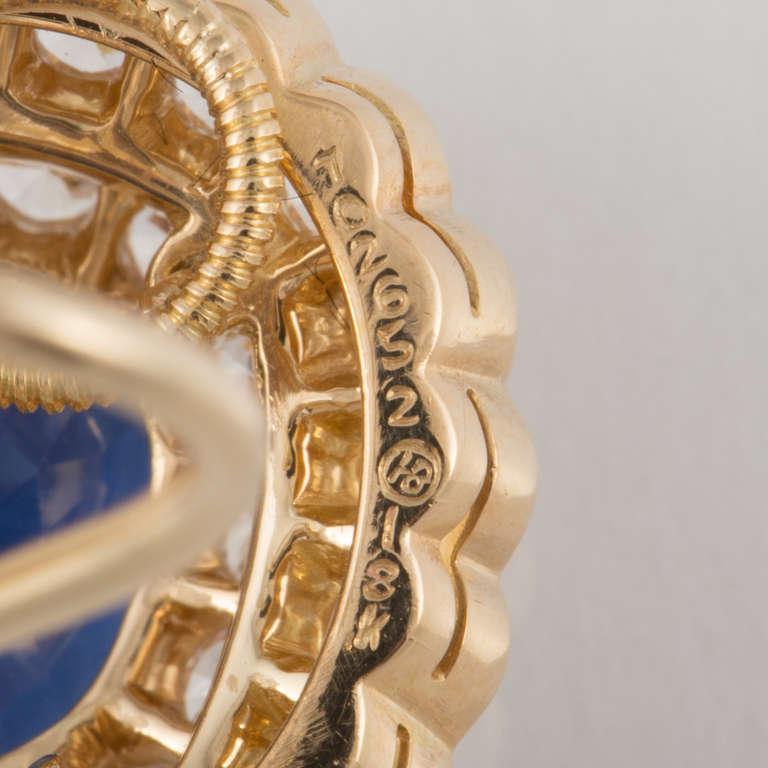Oscar Heyman & Bros. Sapphire, Diamond, and Yellow Gold Earrings For Sale 2