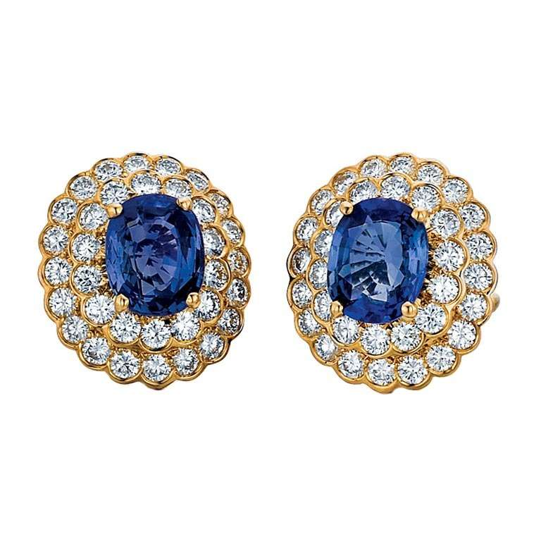 Oscar Heyman & Bros. Sapphire, Diamond, and Yellow Gold Earrings