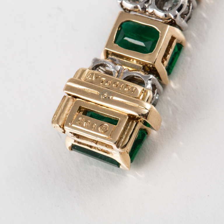 Oscar Heyman & Bros. Emerald, Diamond, and Yellow Gold and Platinum Bracelet For Sale 3