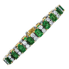 Oscar Heyman & Bros. Emerald, Diamond, and Yellow Gold and Platinum Bracelet