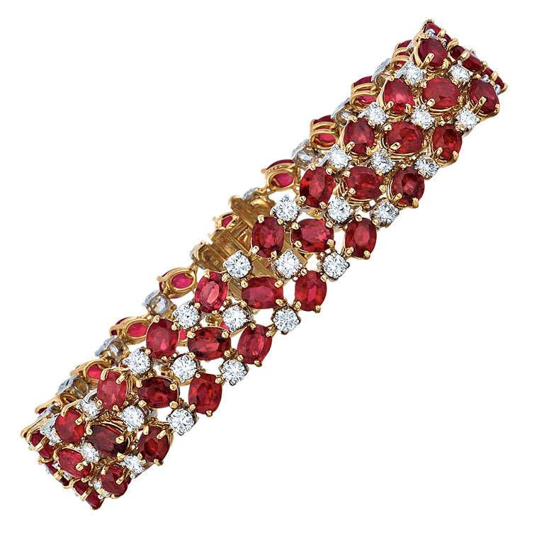 Oscar Heyman & Bros. Ruby, Diamond, Platinum, and Yellow Gold Bracelet