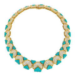 Hammerman Bros. Turquoise, Diamond, and Yellow Gold Necklace