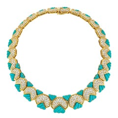Hammerman Bros. 18K Yellow Gold Turquoise and Diamond Necklace