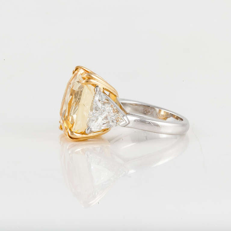 Women's Cushion Cut Yellow Sapphire and Diamond Ring For Sale