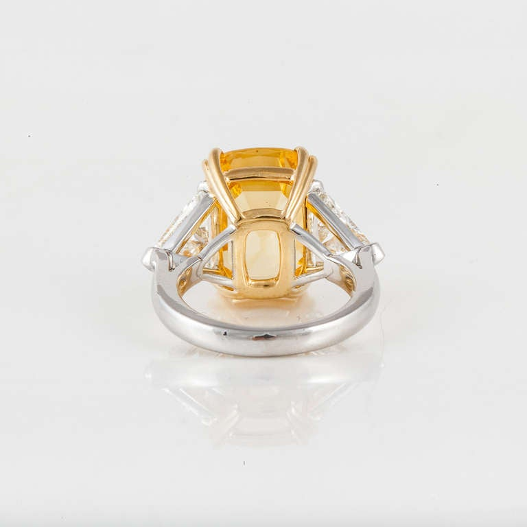 Cushion Cut Yellow Sapphire and Diamond Ring For Sale 1