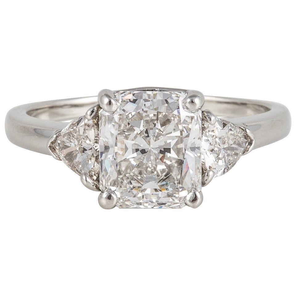 cartier radiant cut platinum three ring for