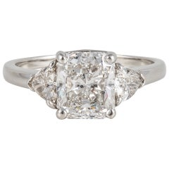 Cartier Radiant-Cut Diamond Platinum Three-Stone Engagement Ring