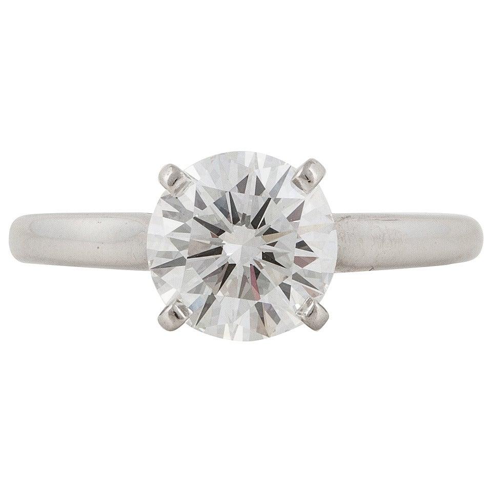 Cartier GIA Cert Diamond Platinum Solitaire Ring