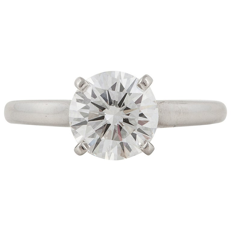 Cartier GIA Certified Diamond Platinum Solitaire Ring For Sale