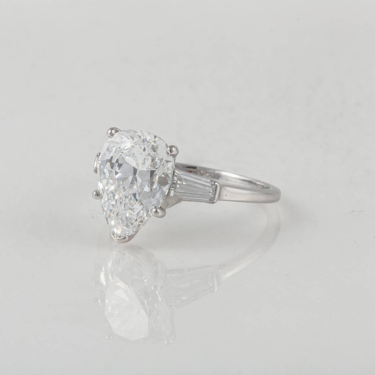3 44 Carat Pear Shaped Diamond Platinum Engagement Ring For Sale at 1stdibs