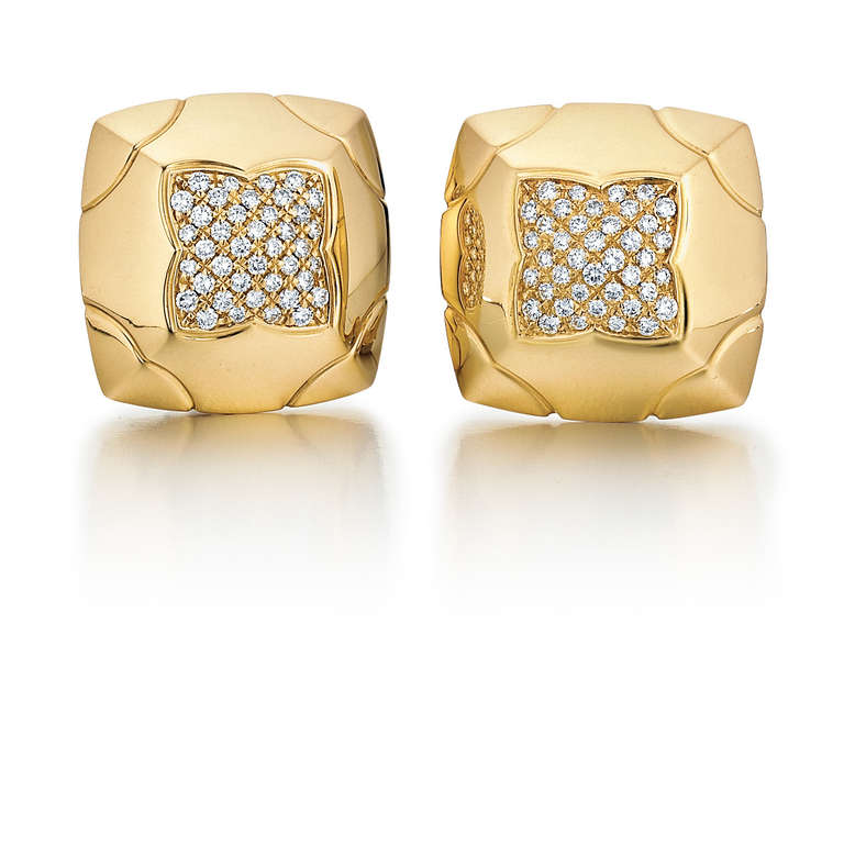 Bulgari Piramide Diamond and Yellow Gold Earrings 2