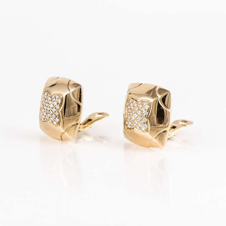 Bulgari Piramide Diamond and Yellow Gold Earrings 3