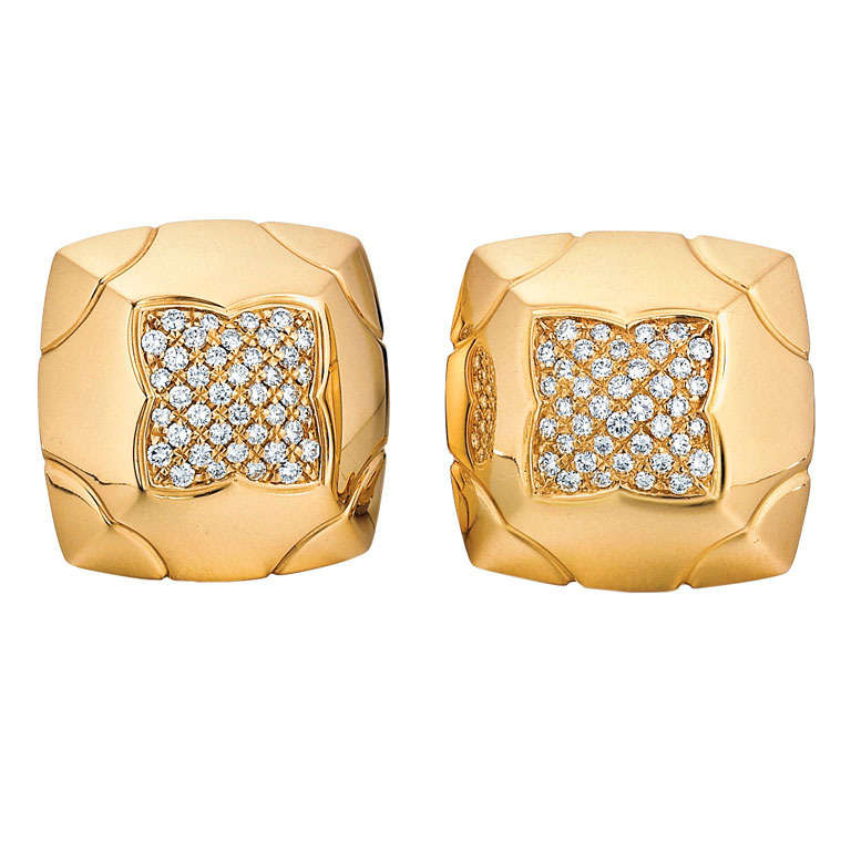 Bulgari Piramide Diamond and Yellow Gold Earrings