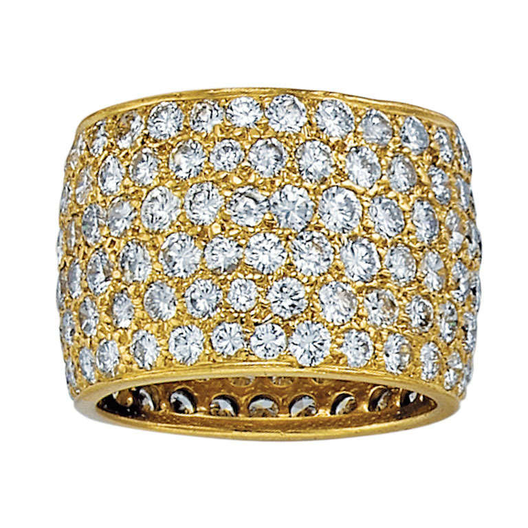 Van Cleef & Arpels Wide Diamond Yellow Gold Band 1