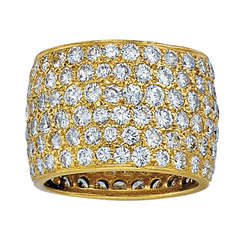 Van Cleef & Arpels Wide Diamond Yellow Gold Band