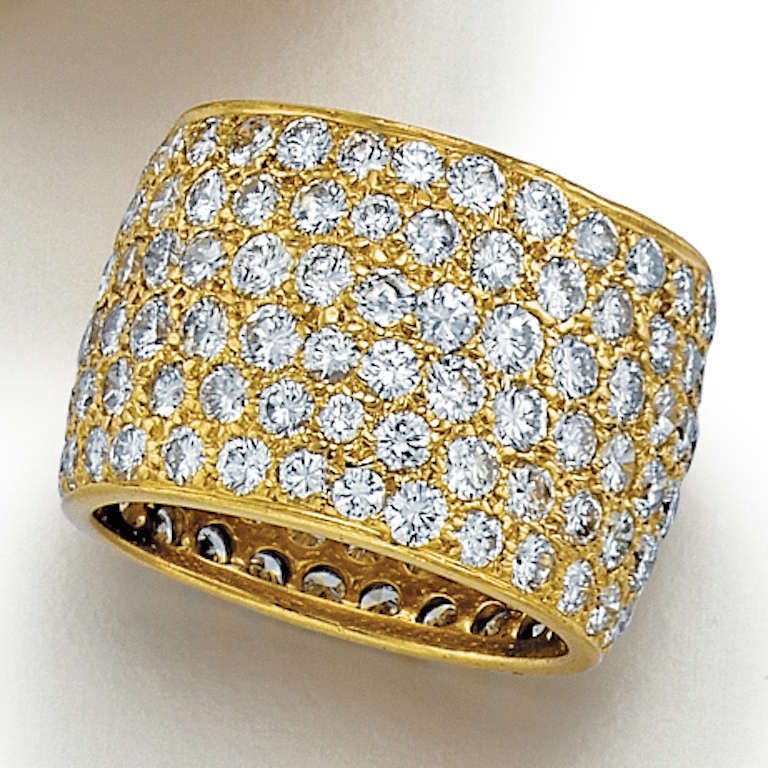 Van Cleef & Arpels Wide Diamond Yellow Gold Band 2