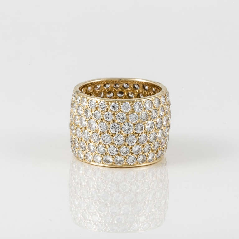 Van Cleef & Arpels Wide Diamond Yellow Gold Band 3