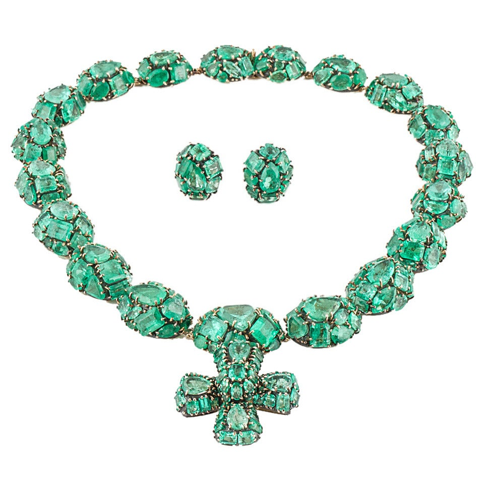 Marilyn Cooperman Jody Emerald Silver Gold Necklace and Earrings
