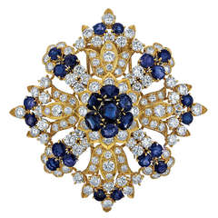Diamond, Sapphire, and Yellow Gold Brooch