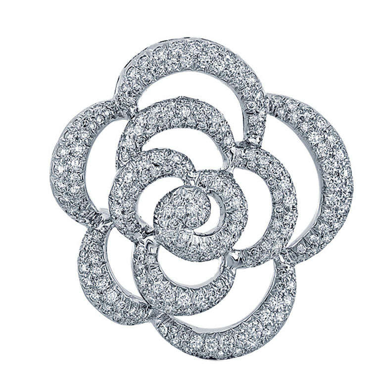 Van Cleef & Arpels Diamond and White Gold Flower Brooch