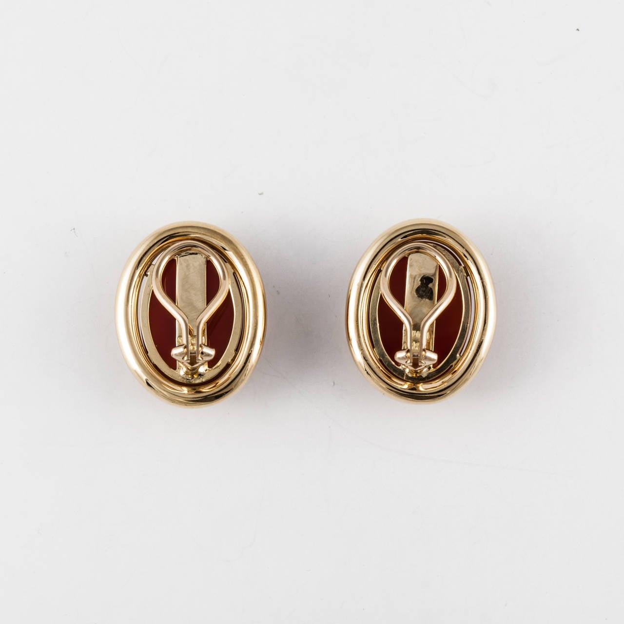 Gump's Carnelian Gold Earrings 3