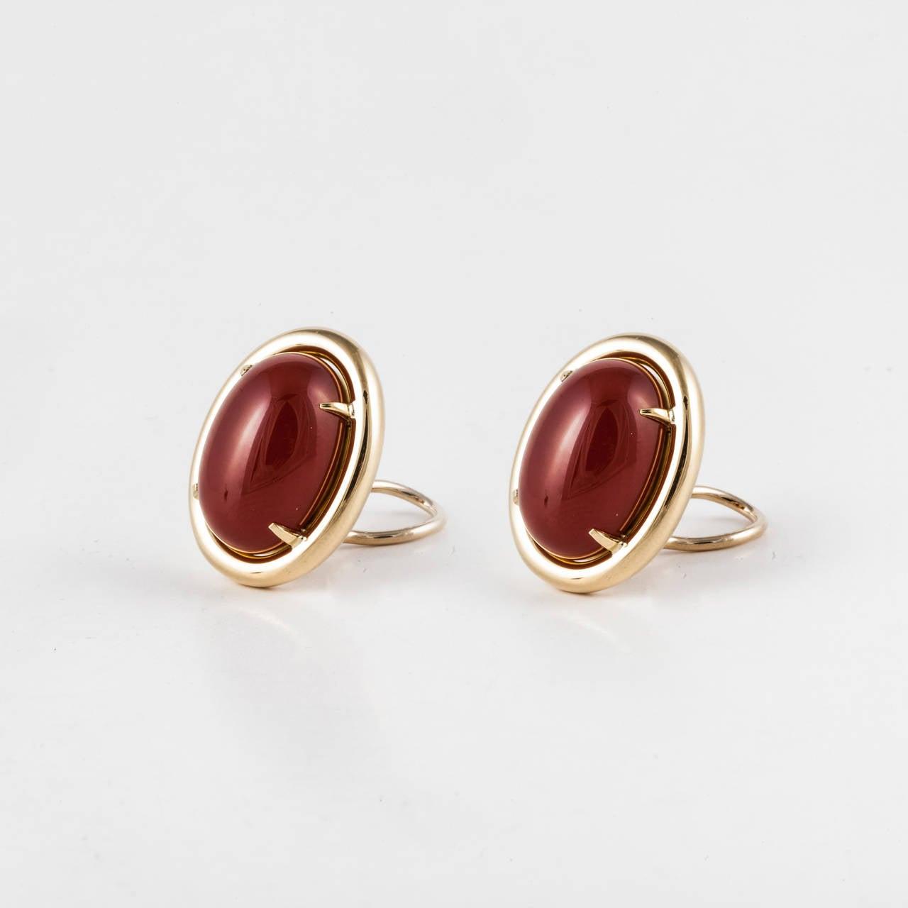 Gump's Carnelian Gold Earrings 2