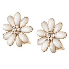 Van Cleef and Arpels Mother of Pearl and Diamond Daisy Earrings