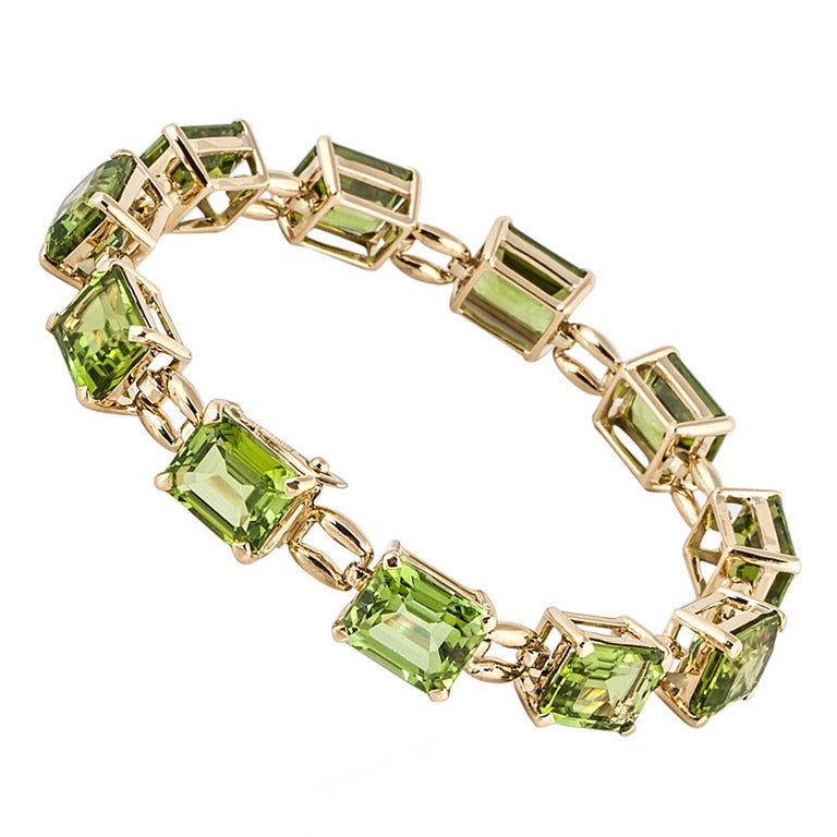 Laura Munder Peridot Gold Tennis Bracelet