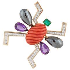Tiffany & Co. Paloma Picasso Gem Set Diamond Gold Bug Pin