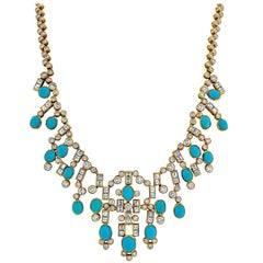 Adler Turquoise, Diamond, and Yellow Gold Necklace