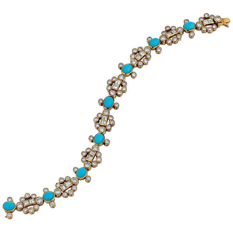 Adler Turquoise, Diamond, and Yellow Gold Bracelet