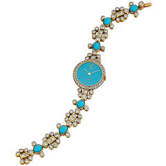 Adler Lady's Yellow Gold, Turquoise and Diamond Bracelet Watch