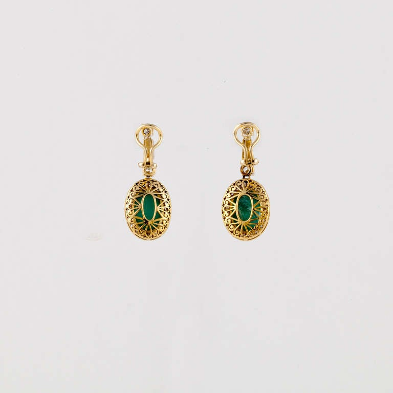 Turquoise, Diamond, and Yellow Gold Earrings 2