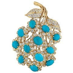 David Webb Turquoise, Diamond, and Yellow Gold Flower Brooch