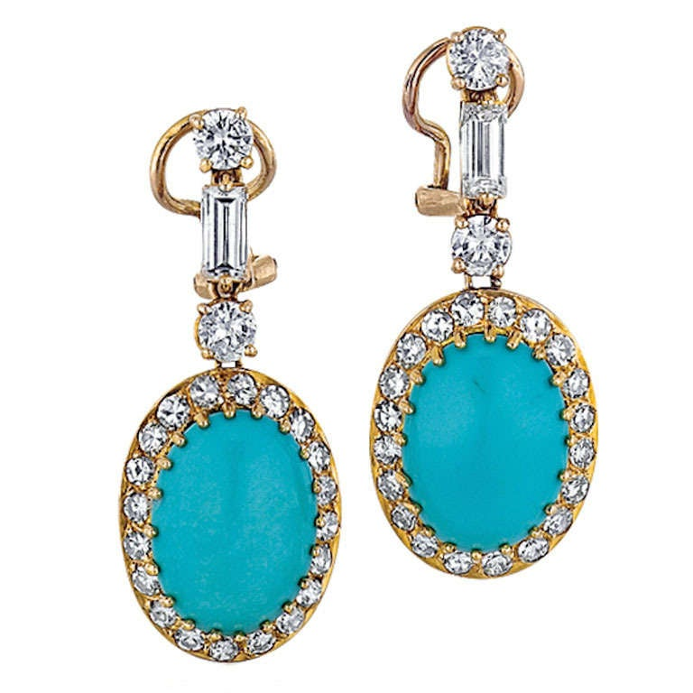 Turquoise, Diamond, and Yellow Gold Earrings 1
