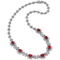 Ruby Diamond Platinum Necklace