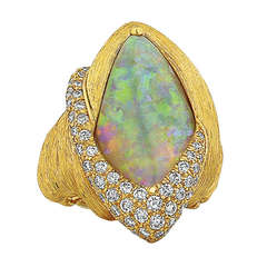Henry Dunay Opal, Diamond, and Yellow Gold Ring
