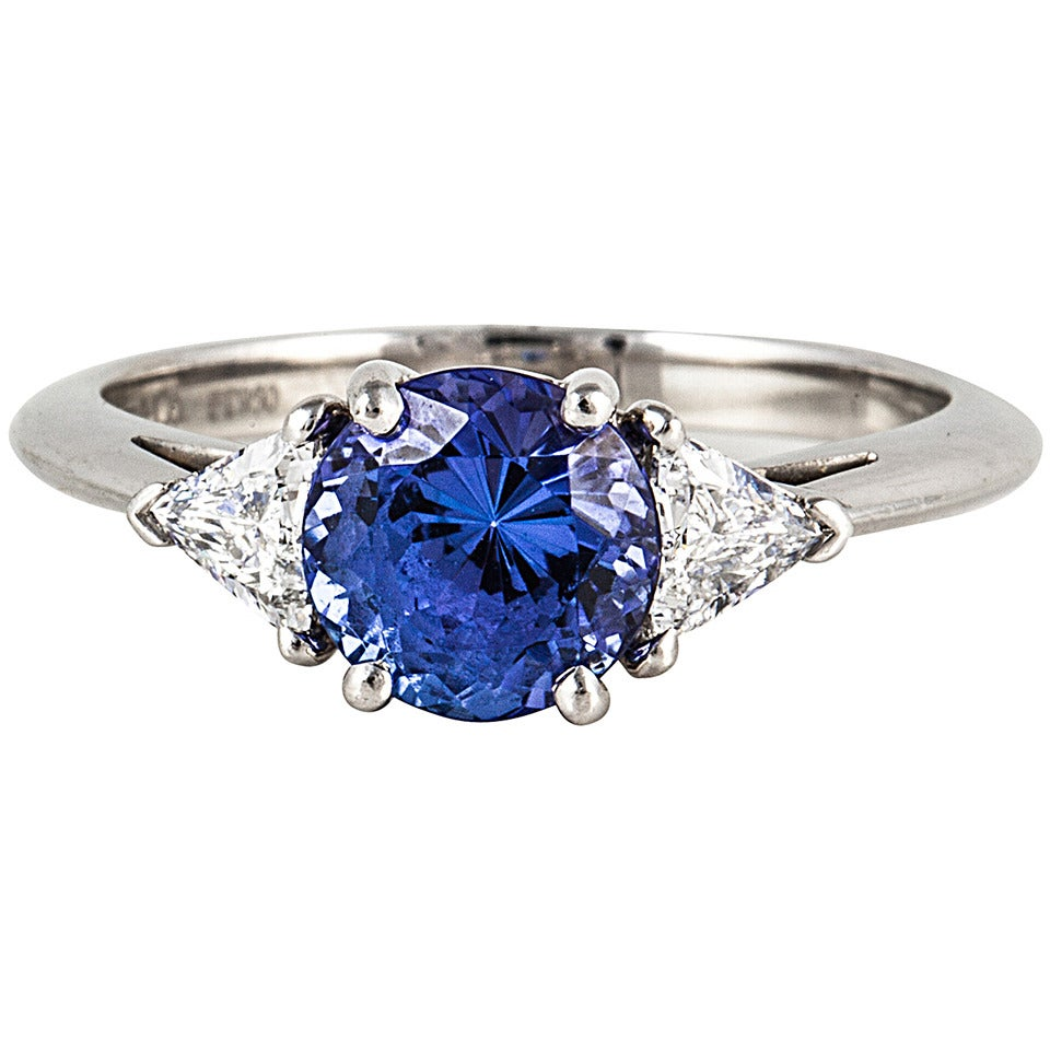 tiffany and co tanzanite diamond platinum ring for sale