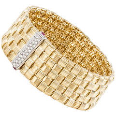 Roberto Coin Appassionata Diamond Woven Gold Bracelet