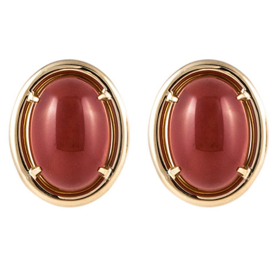 Gump's Carnelian Gold Earrings 1