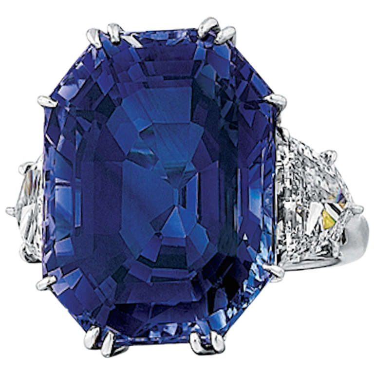 Natural 41.80 Carat Blue Sapphire, Diamond, and Platinum Ring
