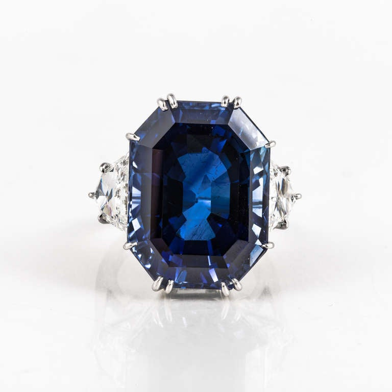 Natural 41.80 Carat Blue Sapphire, Diamond, and Platinum Ring 2